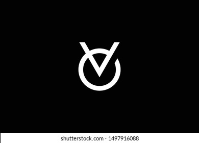 Outstanding professional elegant trendy awesome artistic black and white color OV VO initial based Alphabet icon logo.