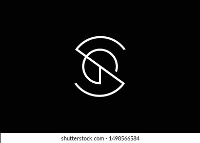 Outstanding professional elegant trendy awesome artistic black and white color SG GS initial based Alphabet icon logo.