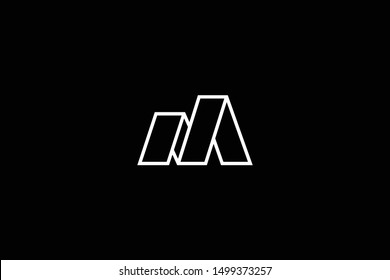 Outstanding professional elegant trendy awesome artistic black and white color M MM MN NM initial based Alphabet icon logo.