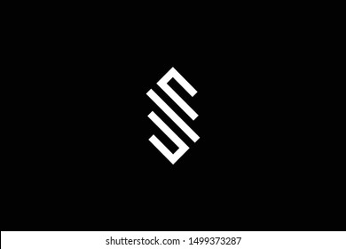 Outstanding professional elegant trendy awesome artistic black and white color SE ES SM MS SW WS initial based Alphabet icon logo.