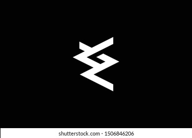 Outstanding professional elegant trendy awesome artistic black and white color ZE EZ initial based Alphabet icon logo.