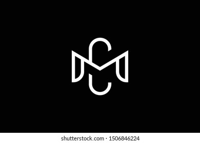 Outstanding professional elegant trendy awesome artistic black and white color MC CM initial based Alphabet icon logo.