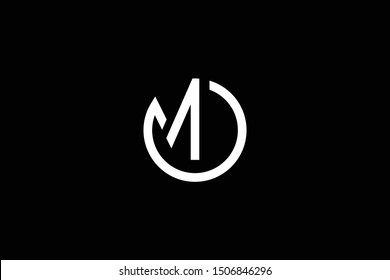 Outstanding professional elegant trendy awesome artistic black and white color OM MO initial based Alphabet icon logo.