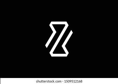 Outstanding professional elegant trendy awesome artistic black and white color ZM MZ ZW WZ initial based Alphabet icon logo.