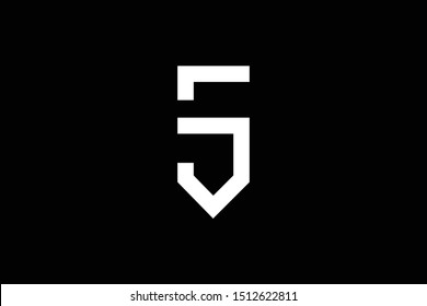 Outstanding professional elegant trendy awesome artistic black and white color S SJ JS initial based Alphabet icon logo.