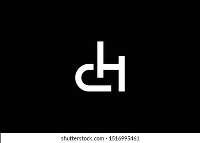 Outstanding professional elegant trendy awesome artistic black and white color DH HD CH HC initial based Alphabet icon logo.