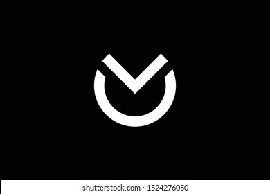 Outstanding professional elegant trendy awesome artistic black and white color MO OM OV VO initial based Alphabet icon logo.