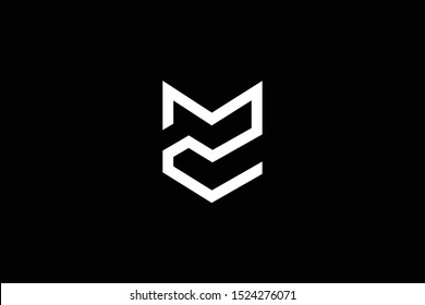 Outstanding professional elegant trendy awesome artistic black and white color MZ ZM initial based Alphabet icon logo.