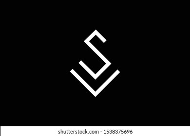 Outstanding professional elegant trendy awesome artistic black and white color S SV VS initial based Alphabet icon logo.