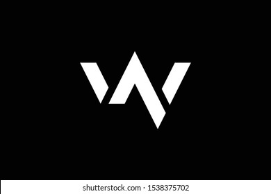 Outstanding professional elegant trendy awesome artistic black and white color W WN NW initial based Alphabet icon logo.