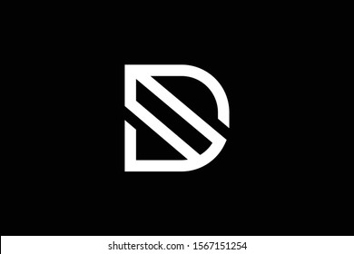 Outstanding professional elegant trendy awesome artistic black and white color D initial based Alphabet icon logo.