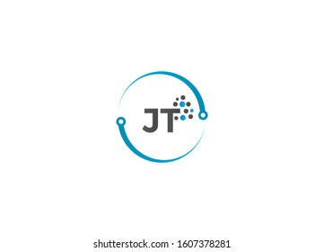 Outstanding professional elegant trendy awesome JT initial based Alphabet icon logo.abstract clean technology modern lines JT logo letter design concept