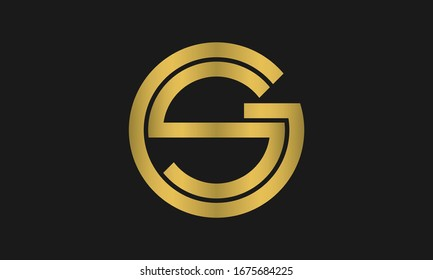 Outstanding professional elegant trendy awesome artistic shiny gold color SG GS initial based Alphabet icon logo.
