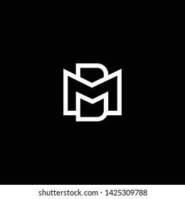 Outstanding professional elegant trendy MD DM MB BM artistic black and white color WA initial based Alphabet icon logo.