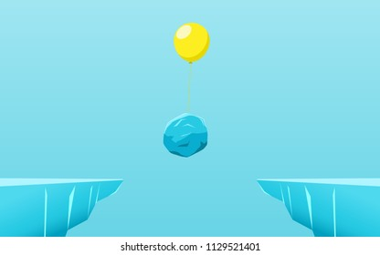 Outstanding the stone float up with balloon through the gap obstacles between hill.  Business advantage opportunities and success concept. Unique, leadership, independence, initiative, strategy