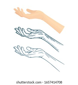 Outstretched hand palms vector illustrations set in different drawing styles. Part of set.