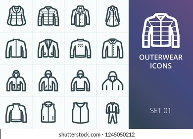 Outwear icons set. Set of down jacket, fur coat, winter coats, sweater, hoodie, jackets, sweatshirt icons