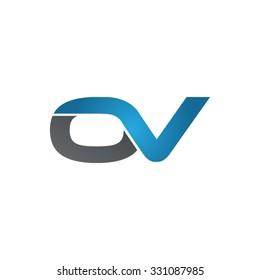 OV company linked letter logo blue