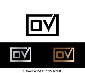 OV initial box shape Logo designs template