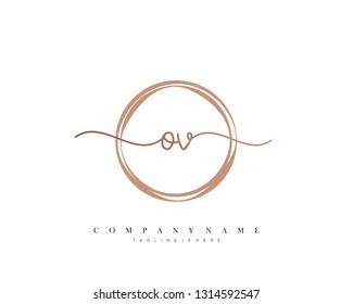 OV initial handwriting logo template vector