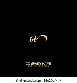OV Initial handwriting logo vector