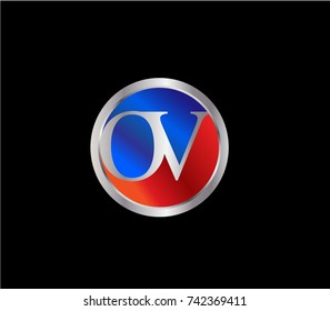 OV Letter logo Design in a circle. Blue Red and silver colored