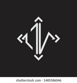 OV Logo Abstract letter Monogram with Arrow in every side isolated on black background