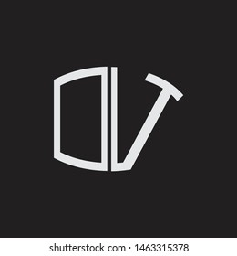 OV Logo letter oval monogram design template with black and white colors