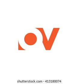 OV Logo. Vector Graphic Branding Letter Element. White Background