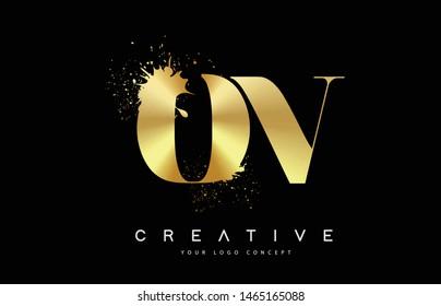 OV O V Letter Logo with Gold Melted Metal Splash Vector Design Illustration.