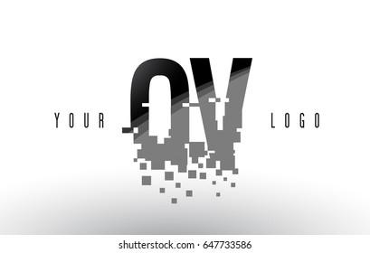OV O V Pixel Letter Logo with Digital Shattered Black Squares. Creative Letters Vector Illustration.