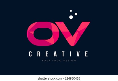 OV O V Purple Letter Logo Design with Low Poly Pink Triangles Concept