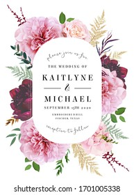 Oval baroque floral label pink frame arranged from leaves and flowers. Pale pink rose, burgundy dark red peony, dusty blush hydrangea, greenery vector design. Autumn moody card. Isolated and editable