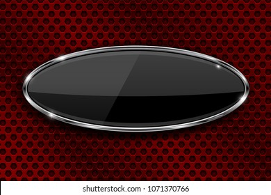 Oval black button with chrome frame. 3d icon on red metal perforated background. Vector illustration