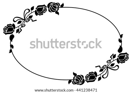 Oval Black White Frame Roses Silhouettes Stock Vector (Royalty Free ...