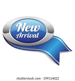 Oval blue new arrival badge with ribbon on white background