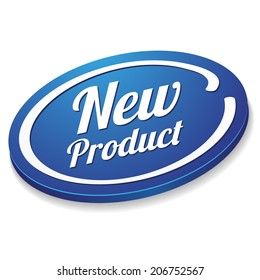Oval blue new product button on white background