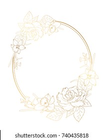 Oval border frame decorated with rose peony daffodil narcissus flowers. Bright shining gold gradient color on white background. Botanical floral foliage garland vector design element template.