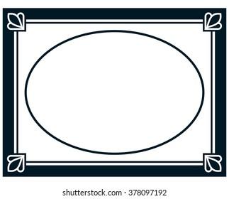 Oval border photo frame deco. Vector simple vertical line signboard