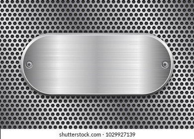 Oval brushed metal plate on perforated texture. Vector 3d illustration