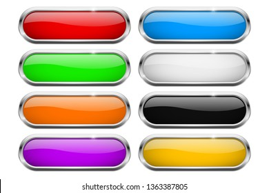 Oval buttons. Glass colored icons with chrome frame. Vector 3d illustration