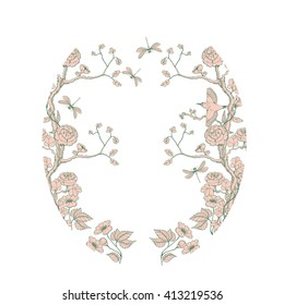 Oval card in chinoiserie style with peonies, dragonfly and bird on white background for wedding, scrapbooking, wallpaper and other design.