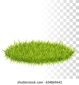 Oval Carpet Of Green Fresh Grass. Vector illustration.