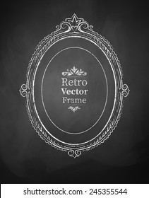 Oval chalked vintage baroque frame. Vector illustration. Isolated.