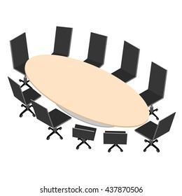 The oval conference table with black office chairs on wheels. Interior in isometric view.