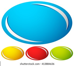 Oval, ellipse badge, button background. Set of 4 colors. generic design elements. (More versions in my gallery)