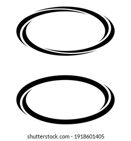 Oval ellipse banner frames, borders, vector hand-drawn graphics, oval markers for text selection