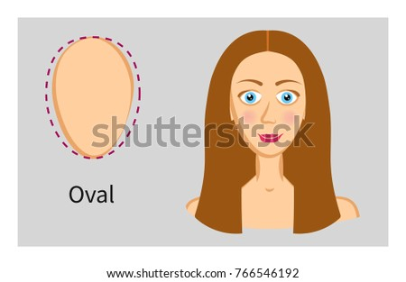 Oval Face Types Hairstyle Shape Face Stock Vector Royalty Free