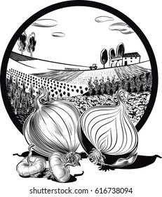 oval frame with agricultural landscape, and onions.