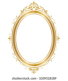 Oval frame and border Golden frame on white background, Vector illustration